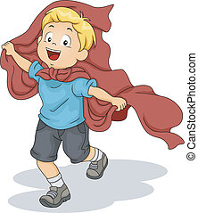 Kid Boy Playing Superhero - Illustration of a Kid Boy...