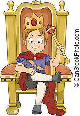Kid Boy Prince - Illustration of a Kid Boy Prince Sitting on...