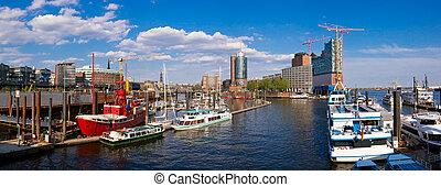 Hamburg panorama - panorma with hafencity in hamburg,...