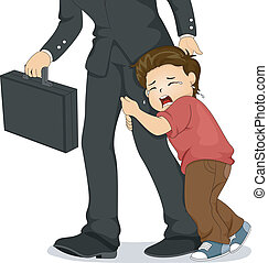 Crying Boy Pulling his Father's Leg