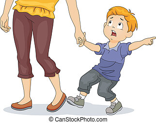 Boy Pulling His Mothers Hand - Illustration of a Frightened...