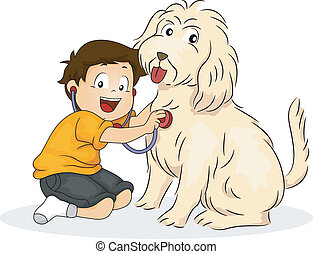 Boy Playing Doctor with his Dog - Illustration of a Boy...