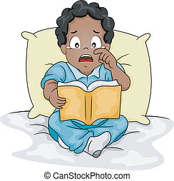 African-American By Crying Over a Story Book - Illustration...