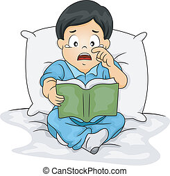 Asian Boy Crying Over a Story Book - Illustration of an...