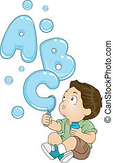 Toddler with ABC Bubbles - Illustration of a Kid Playing...
