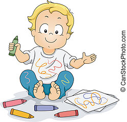 Toddler Boy Drawing Doodles with Crayons - Illustration of a...
