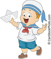 Toddler Boy Wearing a Sailor Costume - Illustration of a Boy...