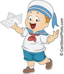 toddler, Menino, Desgastar, marinheiro, traje