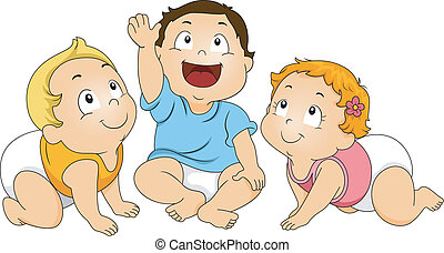 Toddlers Looking Up - Illustration of a Group of Toddlers...