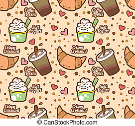 Food and drink wrapping paper pater drawings