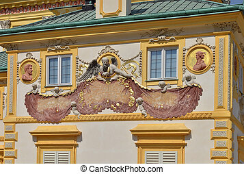 Baroque Solar Clock - Baroque solar clock on the wall of...