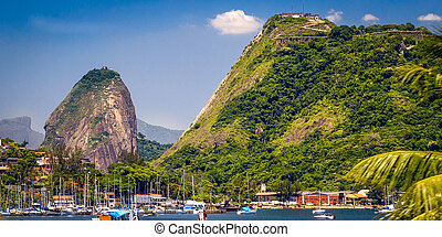 Sugarloaf Mountain - Boats at a harbor with Sugarloaf...