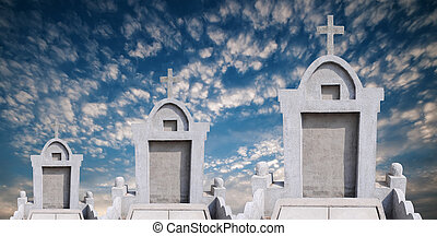 Tombstone in the sky background