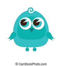 Drawing of a cute cartoon bird standing