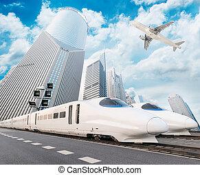 very high-speed train go through the shanghai financial...