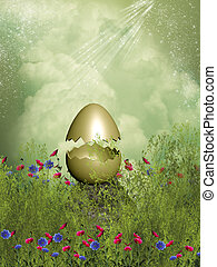 Golden egg in a field with flowers