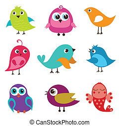 Set of different cute birds
