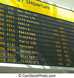 Timetable display screen of arrivals and departures at...
