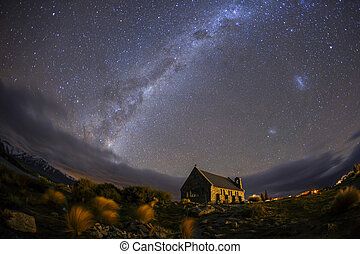 milky way at Church of the good shepherd Lake Tekapo,...
