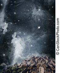 Fantasy landscape - , Fantasy landscape with nebula,rocks...