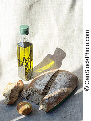 Easter bread, oil and pasch-egg - Easter bread, small bottle...