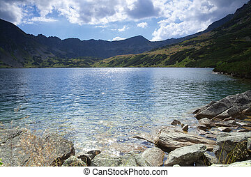mountain lake - beautiful landscape of mountain lake or Five...