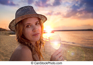 gente, collection:, hermoso, dama, sombrero, vidrio, vino, T