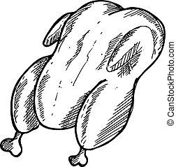 Hand drawn chicken meat