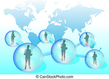 Illustration of business people with tablet in social...
