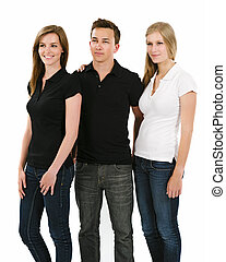 Three young people wearing blank polo shirts - Photo of...