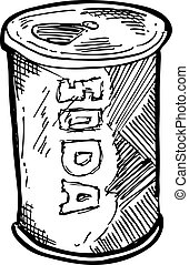 Hand drawn soft drink can