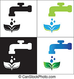 Set water tap with drop - eco sign