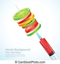 Healthy Fruit in Syringe - illustration of healthy fruit...