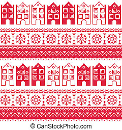 Christmas knitted seamless pattern - Winter red vector...