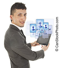 Young man holding a black tablet with social friends...
