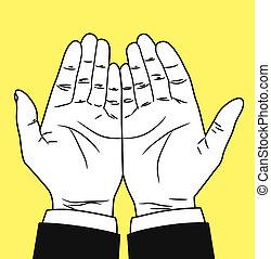modlący się, Ręka