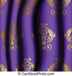 purple material with gold pattern