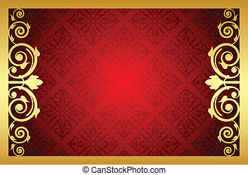 Vector gold and red royal frame