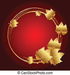 Vector red frame with gold leaves