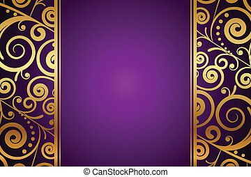 purple background - Vector gold ornament on purple...