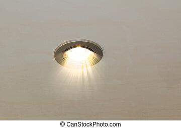 plafond, tache, lampe