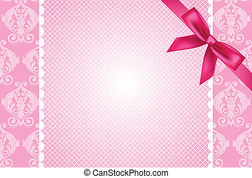 pink background with lace and bow - Vector ornate pink...