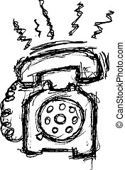 retro telephone in doodle style
