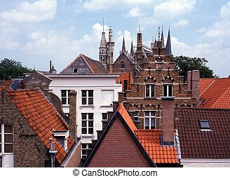 City buldings, Bruges, Belgium. - View over city rooftops,...