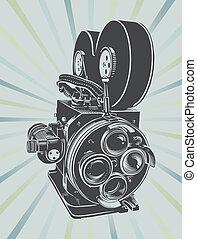 Vintage video camera - Vector illustration of a vintage...