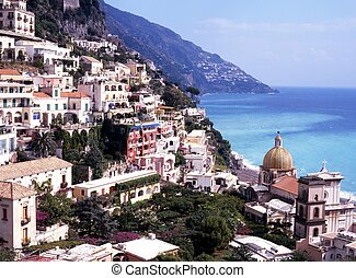 View over town, Positano, Italy - View over town and down to...