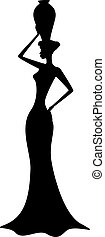 Silhouette of african girl - Silhouette of beautiful african...