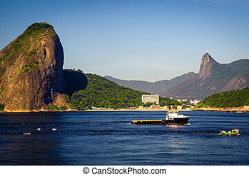 Sugarloaf Mountain - Boat in the ocean with Sugarloaf...
