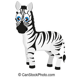 Cute baby zebra cartoon, vector