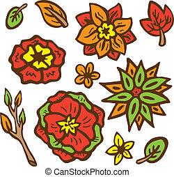 set of flower doodle